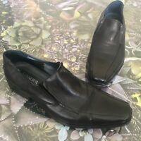 Jones Bootmaker Mens Loafers Slip On Shoes Black Leather Leslie  Size 42 UK 8