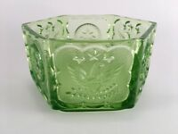 Vintage green hexagon glass open candy dish star & eagle design