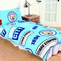 Man City FC PATCH Single Bed Football Club Crest Duvet Cover Set Blue
