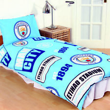 MAN CITY FC empiècement petit lit Football logo Club Set Housse de couette bleu