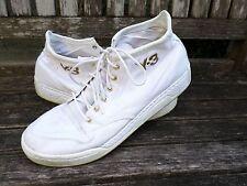 Y-3 Yohji Yamamoto Hayworth 12 white canvas gold high top sneakers trainers 12.5