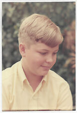 Vintage 60s PHOTO Close Up Young Little Blond Boy Portrait
