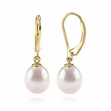 AAA+ Quality Freshwater Cultured Pearl Earrings Leverback Dangle Pearl Studs
