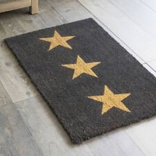 Charcoal Three Stars Coir Doormat 65 x 40cm Quality New England Country Style.