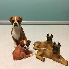 4 Boxer dog figurines, Border Fine Arts, Sandicast, & Art Mark, Good condition!