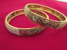 Indian Bollywood Traditional Bangles Gold Plated CZ Fashion Jewelry Kada 2PS
