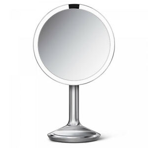 simplehuman 8 Inch Sensor Round Makeup Mirror SE Brushed Stainless Steel 5X