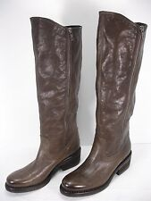 VIC BROWN LEATHER PULL ON 1/4 SIDE ZIP KNEE HIGH BOOTS WOMEN'S 38.5 MINT
