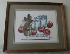 """Tomatoes"" Country Farm Finished Framed Counted Cross Stitch 11"" X 14"""