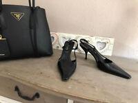 PRADA Slingback Pumps Schuhe schwarz spitz Lack Leder Logo Klassiker 36,5 37