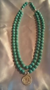 Jewellery 925 Indian Coin Nacklace with Turquoise Beads