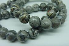 46 pce Grey Landscape Jasper Round Gemstone Beads 8mm Jewellery Making Craft