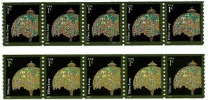 2003 & 2008 TIFFANY LAMP TWO PNC STRIPS OF 5 PLATE #S11111 SCOTT 3758, 3758A MNH