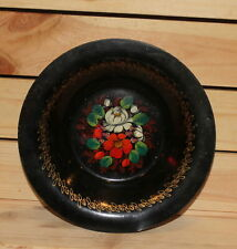 Vintage hand painted floral metal tole bowl