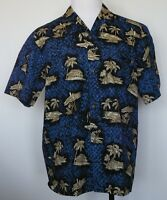 Royal Creations Dark Blue Short Sleeve Hawaiian Camp Shirt L Large Palm Trees