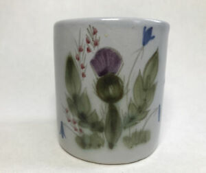 Vintage Buchan Portobello Thistle Stoneware Pottery Vase ? Pen Holder Scotland