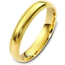 10K YELLOW GOLD MENS WEDDING BANDS RINGS DOME MILGRAIN SHINY 4MM