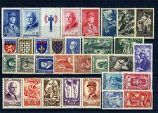 FRANCE ANNEE COMPLETE 1943 AVEC BANDES NEUF ** SANS CHARNIERE COTE 215€