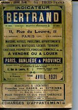 INDICATEUR BERTRAND Paris Banlieue & Province Avril 1931