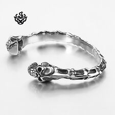 Silver skull bones bangle stainless steel cuff bracelet solid soft gothic