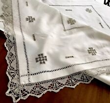 VINTAGE HAND EMBROIDERED TAUPE & Cream LINEN TABLECLOTH 52x55 Inches
