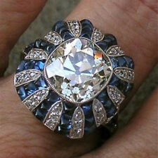 Women Men Fashion Sapphire Silver Filled Ring Evening Party Wedding Jewelry Sz7