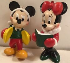 """Disney Mickey And Minnie Mouse Ornaments - Hard Rubber or Pvc Plastic - 4"""" High"""