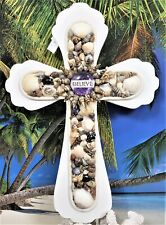 BELIEVE IN A NAUTICAL 3 JOHN 16 SEA SHELLS ON A HAND CRAFTED WHITE WOODEN CROSS