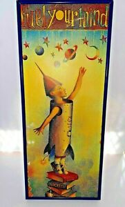 "Vintage Kids Wall Art USA Rocket ""Fuel Your Mind"" Signed 22""x9"""