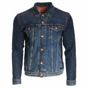 LEVIS Mens Jacket Denim Blue Faded Jeans Classic Button Up Cotton Casual Trunker