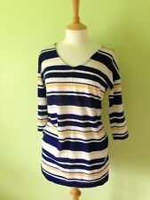 M&S Collection Navy White Yellow Striped Long Jumper/Dress S 8
