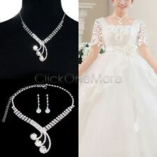 Princess Clear Rhinestone Crystal Necklace Earring Set Bridal Prom Wedding