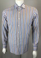 Mens Bugatchi Uomo Shaped Fit Medium Blue Tan & Brown Striped Rev Cuff Geo Shirt