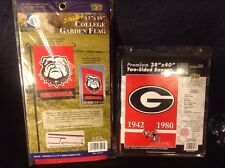 "(2X)Georgia Bulldogs 13"" X 18"" /28"" X 40"" Two Sided Garden Banner Flags Football"