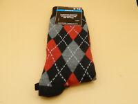 Mens Diamond Black/Red Fashion Socks size 6-12