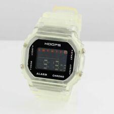 Hoops Damen Herren Uhr Quarz Weiß Digital mit Kautschukarmband Chronograph Eckig