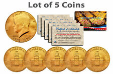 Bicentennial 1976 JFK Half Dollar US Coins 24K GOLD PLATED w/Capsules *Lot of 5*
