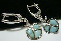 Beautiful Jewellery STERLING SILVER Real Larimar Gem Stone Apple Drop EARRINGS