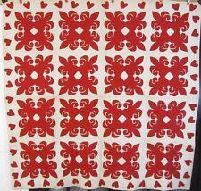 Patriotic Red!  1890-1900 QUILT Fleur De Lis HEARTS Applique Antique STUNNING