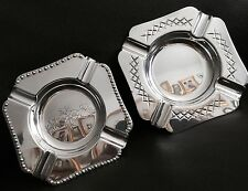 More details for 2 superb antique english edwardian silver plated ashtrays in perfect condition