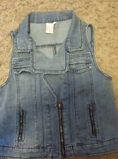 Girls 14 Candies sleeveless denim zip up jacket/vest