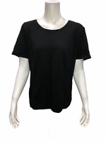 Bob Mackie Women's Pullover Essentials Scoop-neck Tee Solid Black Large Size