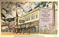 Vintage Postcard, Old Witch Totem and the Nugget Shop, Juneau, Ak Sukwan Village