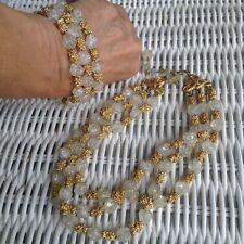TRIFARI Crackle Glass&Gold Nugget 3 Strand Choker Necklace&Bracelet Demi-Parure