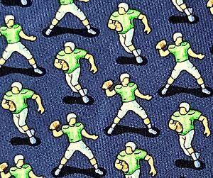 Vineyard Vines Men's 100% Silk Neck Tie Novelty Football Players Blue Classic
