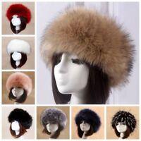 Femmes Russe Fluffy Fox Chapeau Fourrure Earwarmer Bonnet Ski Un Bandeau D'hiver