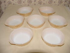 "7 Fire King Peach Lustre Casserole Bowl Handles Ovenware 5"" Swirl Anchor Hocking"