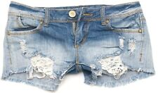 "Almost Famous Women's Cheeky Distressed Jean Shorts Size 1 or 26"" Waist"