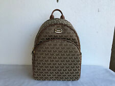 Michael Kors Large Abbey Backpack MK Signature Monogram Bag Luggage 38H7XAYB7J