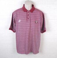 San Francisco 49ers NFL NFC Logo Athletic Scarlet Plaid Golf Polo Shirt Large